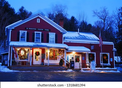South Woodstock, VT, USA December 17, 2009 AS general store in South Woodstock, Vermont is store is aglow with Christmas lights and decorations