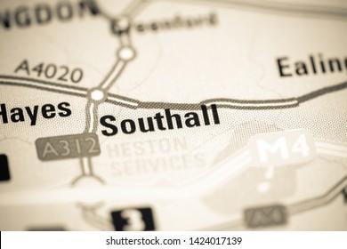 Southall. United Kingdom on a map