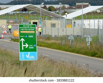 Southampton Airport, Eastleigh, Hampshire, England / United Kingdom - 14 October 2020 : A Covid-19 testing centre set up in a long stay car park at Southampton Airport during the coronavirus pandemic