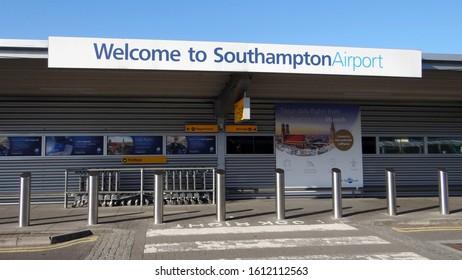 Southampton Airport, Southampton, Hampshire/ United Kingdom - July 9 2017: The front entrance to Southampton Airport