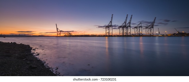 Southampton Docks viewed from Marchwood at sunset.