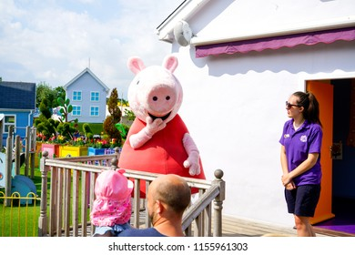 SOUTHAMPTON, ENGLAND, 14 JULY 2018: The Peppa Pig World is in Paultons Park located in Romsey, Hampshire, England. This park has around 70 attractions and rides.