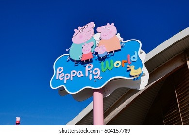 SOUTHAMPTON, ENGLAND, 14 MARCH 2017: The Peppa Pig World is in Paultons Park located in Romsey, Hampshire, England. This park has around 70 attractions and rides.