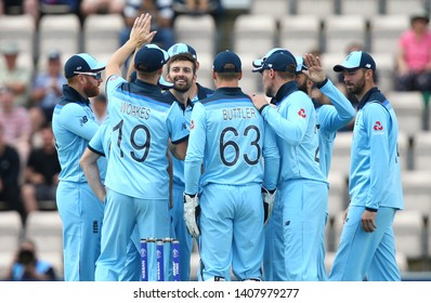 SOUTHAMPTON, ENGLAND. 25 MAY 2019: Mark Wood of England celebrates taking the wicket of Aaron Finch of Australia during the England v Australia, ICC Cricket World Cup warm up match,