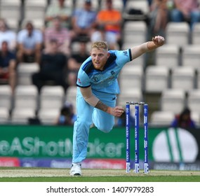 SOUTHAMPTON, ENGLAND. 25 MAY 2019: Ben Stokes of England bowling during the England v Australia, ICC Cricket World Cup warm up match,