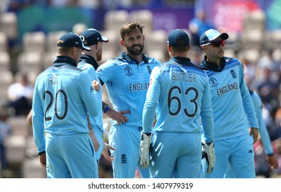 SOUTHAMPTON, ENGLAND. 25 MAY 2019: Liam Plunkett of England celebrates taking a wicket during the England v Australia, ICC Cricket World Cup warm up match,
