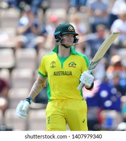 SOUTHAMPTON, ENGLAND. 25 MAY 2019: Steve Smith of Australia celebrates scoring a half century during the England v Australia, ICC Cricket World Cup warm up match,