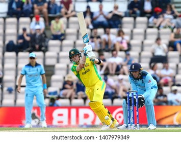 SOUTHAMPTON, ENGLAND. 25 MAY 2019: Steve Smith of Australia plays a shot during the England v Australia, ICC Cricket World Cup warm up match,