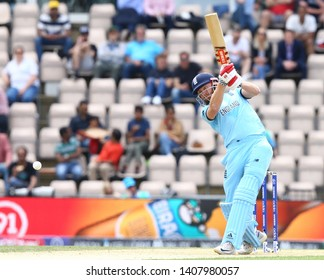 SOUTHAMPTON, ENGLAND. 25 MAY 2019: Jonny Bairstow of England hits out during the England v Australia, ICC Cricket World Cup warm up match,