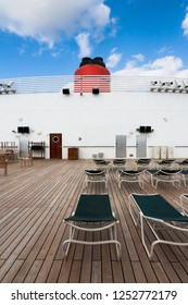Southampton / England - September 14 2012: Deck of the Cunard Queen Mary 2 cruise ship on its transatlantic voyage from Southampton to New York