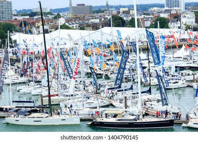 SOUTHAMPTON, ENGLAND - September 18, 2016: The Southampton Boat Show is one of the largest in Europe and the biggest of its type in the UK. The show is held annually in September in Mayflower Park.