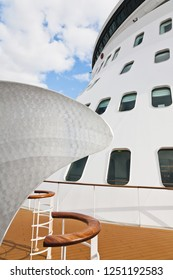 Southampton / England - September 19 2012: Front deck of the Cunard Queen Mary 2 cruise ship on its transatlantic voyage from Southampton to New York