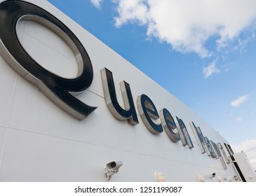 Southampton / England - September 19 2012: Deck of the Cunard Queen Mary cruise ship on its transatlantic voyage from Southampton to New York