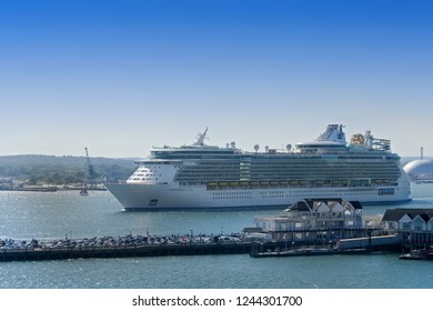 Southampton, England, UK - August 5, 2018:  Royal Caribbeans ship, Independence of the Seas, sailing from the Port of Southampton in England.