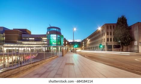 Southampton retail quarter skyline at night