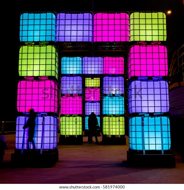 Southampton, UK - 17 Feb 2017: A free public Light Show celebrating the completion of West Quay leisure complex. Installation are placed on the walkways and are complimented by projections and music.