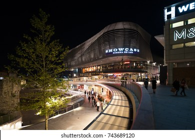 Southampton, UK. 27th October 2017. The exterior of the West Quay shopping and entertainment centre, situated close to the docks and City centre, captured here at night on a mild autumn evening.