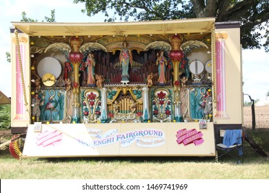 Southampton, UK - 28 July, 2019: Old steam driven fairground attraction on display at a Steam Fair. One of several restored steam powered fairground organs which were commonplace in the early 20th cen
