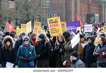 Southampton, UK- February  26, 2018 Lecturers and academy staff of University and College Union launched 3rd day of protest against slashing their pension benefits Southampton, UK on February 26, 2018