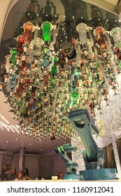 Southampton, United Kingdom- May 20, 2016: The Bionic Bar where robotic arms serve drinks on the Harmony of the Seas Cruise Ship by Royal Caribbean.