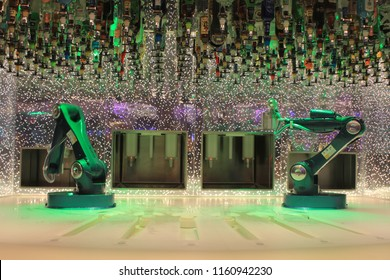 Southampton, United Kingdom- May 20, 2016: The bionic bar on the Harmony of the Seas Cruise Ship where robotic arms prepare the drinks. It is the largest cruise ship in the world.