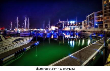 Southampton's Ocean Village marina at night