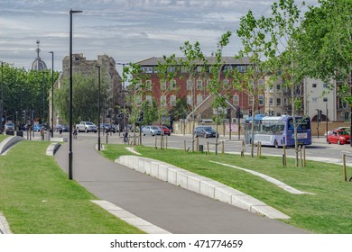 Southampton/UK. 21st August 2016. The waterfront link road between Ocean Village and Town Quay in Southampton. Street remedial work and landscaped gardens provide an easier method for pedestrians.