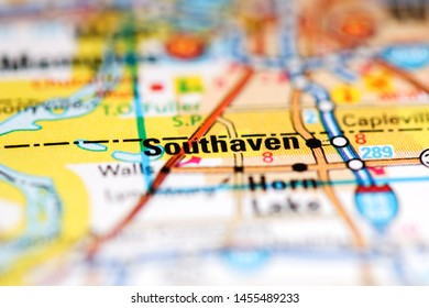 Southaven. Mississippi. USA on a geography map