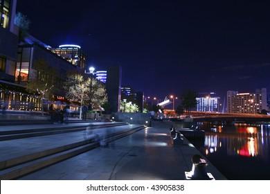 Southbank entertainment facilities along the Yarra River, Melbourne City, Australia.