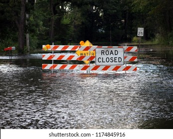 South-Central Wisconsin (USA) - Sept, 8, 2018. Road closure due to flooding (high water). Taken in Columbia county near Portage, intersection of highway 33 and rustic road 49.