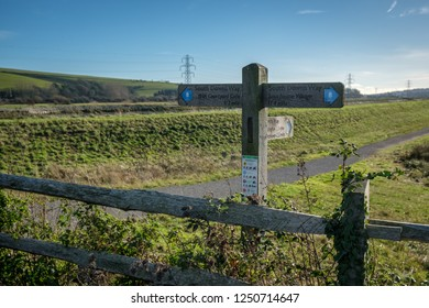 SOUTHEASE, EAST SUSSEX/UK - DECEMBER 4 : View of the South Downs Way signpost at Southease in East Sussex on December 4, 2018