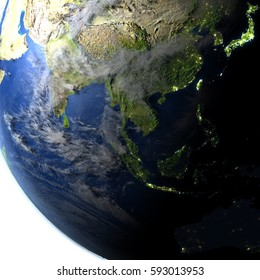 Southeast Asia. 3D illustration with detailed planet surface and visible city lights. Elements of this image furnished by NASA.
