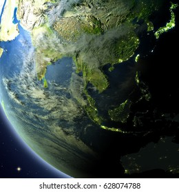Southeast Asia from Earth's orbit. 3D illustration with detailed planet surface, atmosphere and city lights. Elements of this image furnished by NASA.
