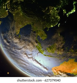 Southeast Asia from Earth's orbit during dusk. Detailed planet surface with atmosphere and city lights. 3D illustration. Elements of this image furnished by NASA.