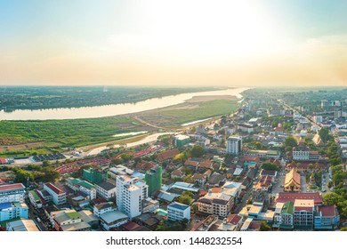 Southeast Asia Laos capital Vientiane City scenery aerial photography