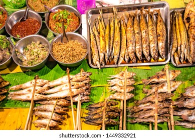 Southeast Asia Laos capital Vientiane Night Market gourmet grilled fish