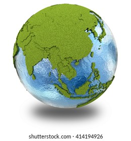 Southeast Asia on 3D model of planet Earth with grassy continents with embossed countries and blue ocean. 3D illustration isolated on white background with shadow.