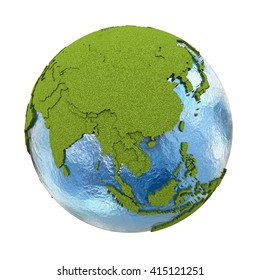 Southeast Asia on 3D model of planet Earth with grassy continents with embossed countries and blue ocean. 3D illustration isolated on white background.