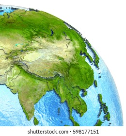 Southeast Asia on 3D model of planet Earth with watery ocean and visible country borders. 3D illustration. Elements of this image furnished by NASA.