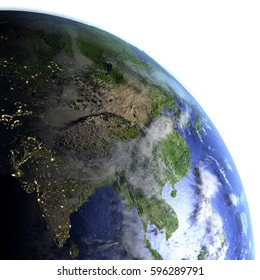 Southeast Asia on model of Earth. 3D illustration with realistic planet surface and visible city lights. Elements of this image furnished by NASA.