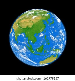 Southeast Asia on planet Earth isolated on black background. Elements of this image furnished by NASA.