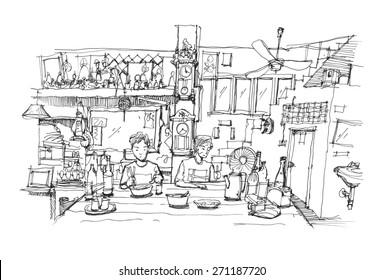 Southeast Asia restaurant pen doodle sketch illustration