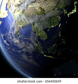 Southeast Asia from space. 3D illustration with detailed planet surface. Elements of this image furnished by NASA.