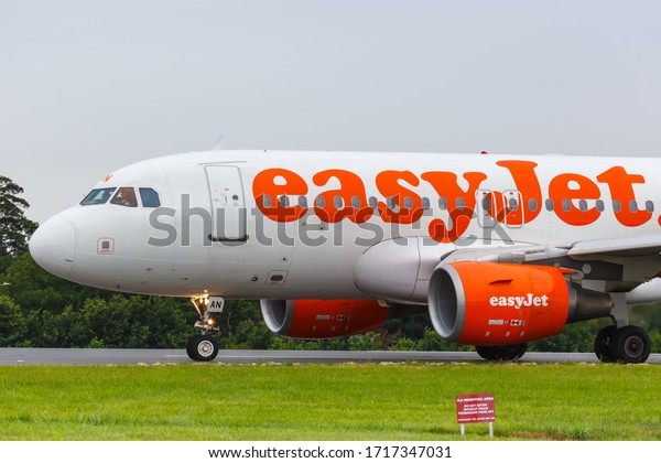 Southend, United Kingdom – July 7, 2019: EasyJet Airbus A319 airplane at London Southend airport (SEN) in the United Kingdom. Airbus is a European aircraft manufacturer based in Toulouse, France.