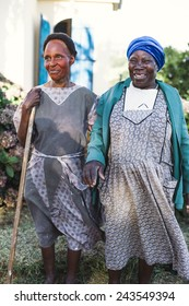 Southern Africa - March 27, 2012: Two African women stand in a garden