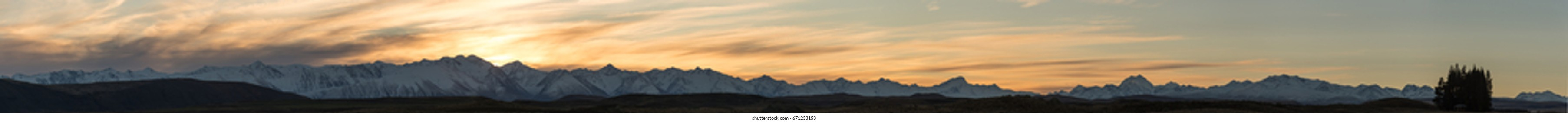 Southern alps mountain range. This is a very wide panorama and will print into a large poster.