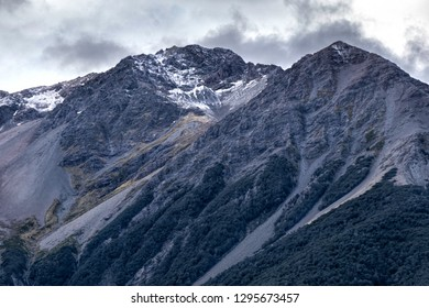 Southern Alps, snow covered mountains in New Zealand.