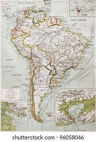 Southern America old map with Rio de la Plata mouth insert plan and Rio de Janeriro insert map.  By Paul Vidal de Lablache, Atlas Classique, Librerie Colin, Paris, 1894 (first edition)