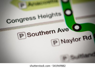 Southern Ave Station. Washington DC Metro map.