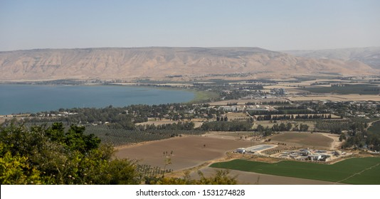 Southern basin of the Sea of Galilee, Lake Tiberias, Kinneret or Kinnereth, a freshwater lake in Israel, the lowest freshwater lake on Earth Northeast Israel. Copy space.